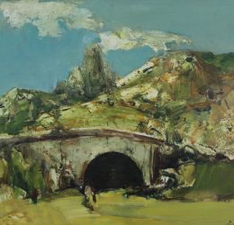 Hrant Antonyan 'Bridge' oil on paper, 15.5x11.5''